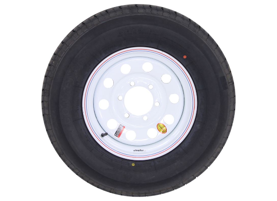 "Contender ST225/75R15 Radial Trailer Tire w/ 15"" White Mod Wheel - 6 on 5-1/2 - Load Range D"