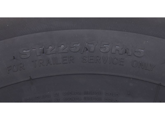 """Contender ST225/75R15 Radial Trailer Tire w/ 15"""" White Mod Wheel - 6 on 5-1/2 - Load Range D"""