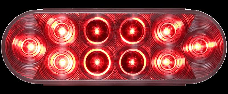 LED STT 6 OVAL 10D RED/ C LENS 10 DIODES SELD