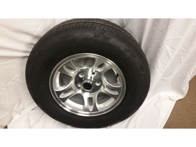 ST205/75/R15 Trailer Wheel/Radial Tire, 5 Lug Aluminum Split Spoke Wheel
