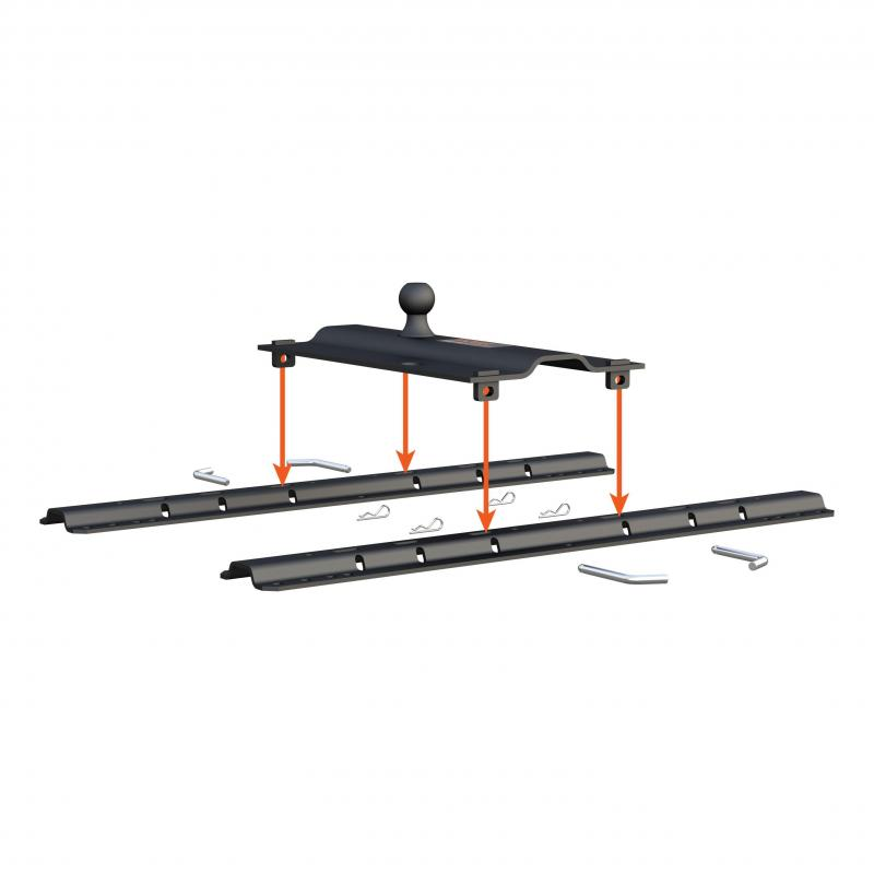"""BENT PLATE 5TH WHEEL RAIL GOOSENECK HITCH WITH BALL OFFSET 3"""" #16055"""