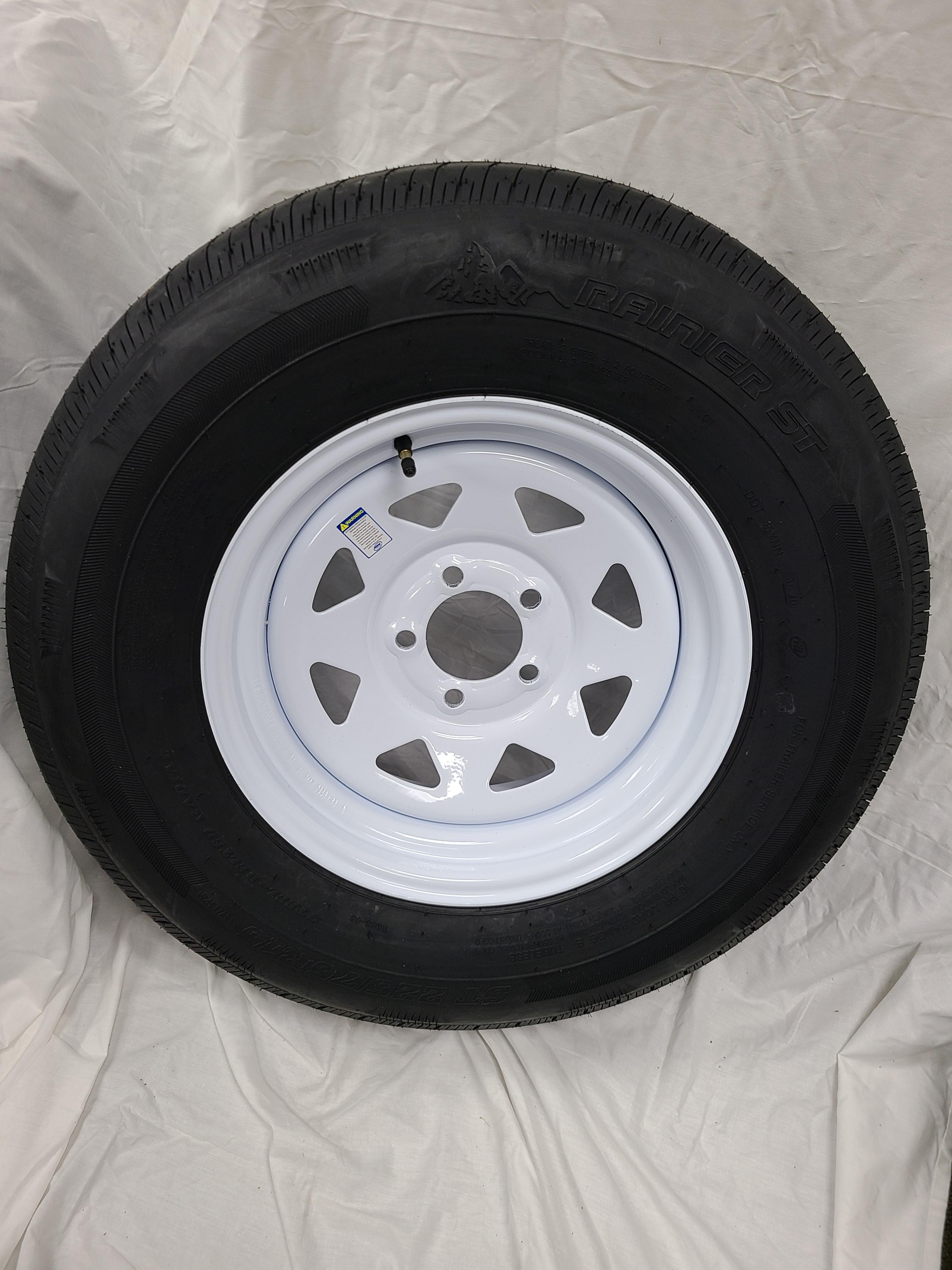 ST225/75/R15 Load Range E 5 Lug White Spoke