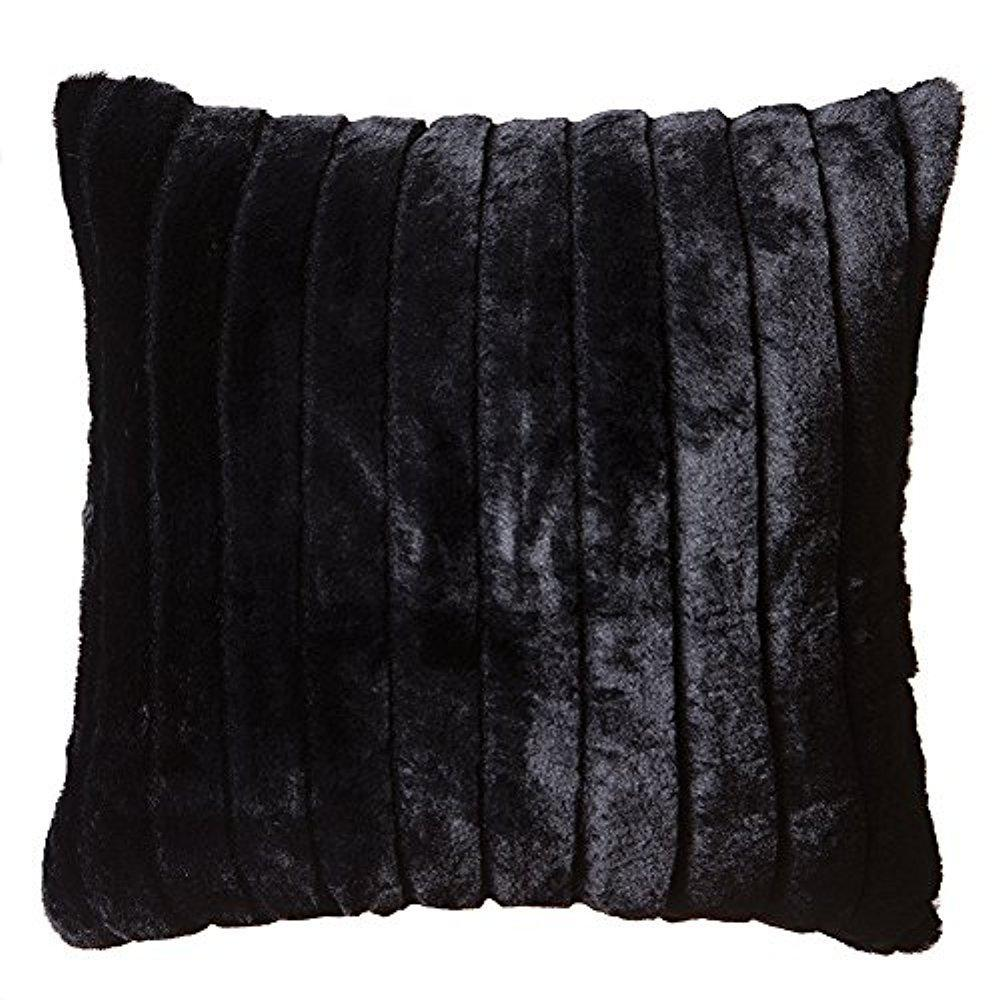 Black Mink Faux Fur Throw Pillow