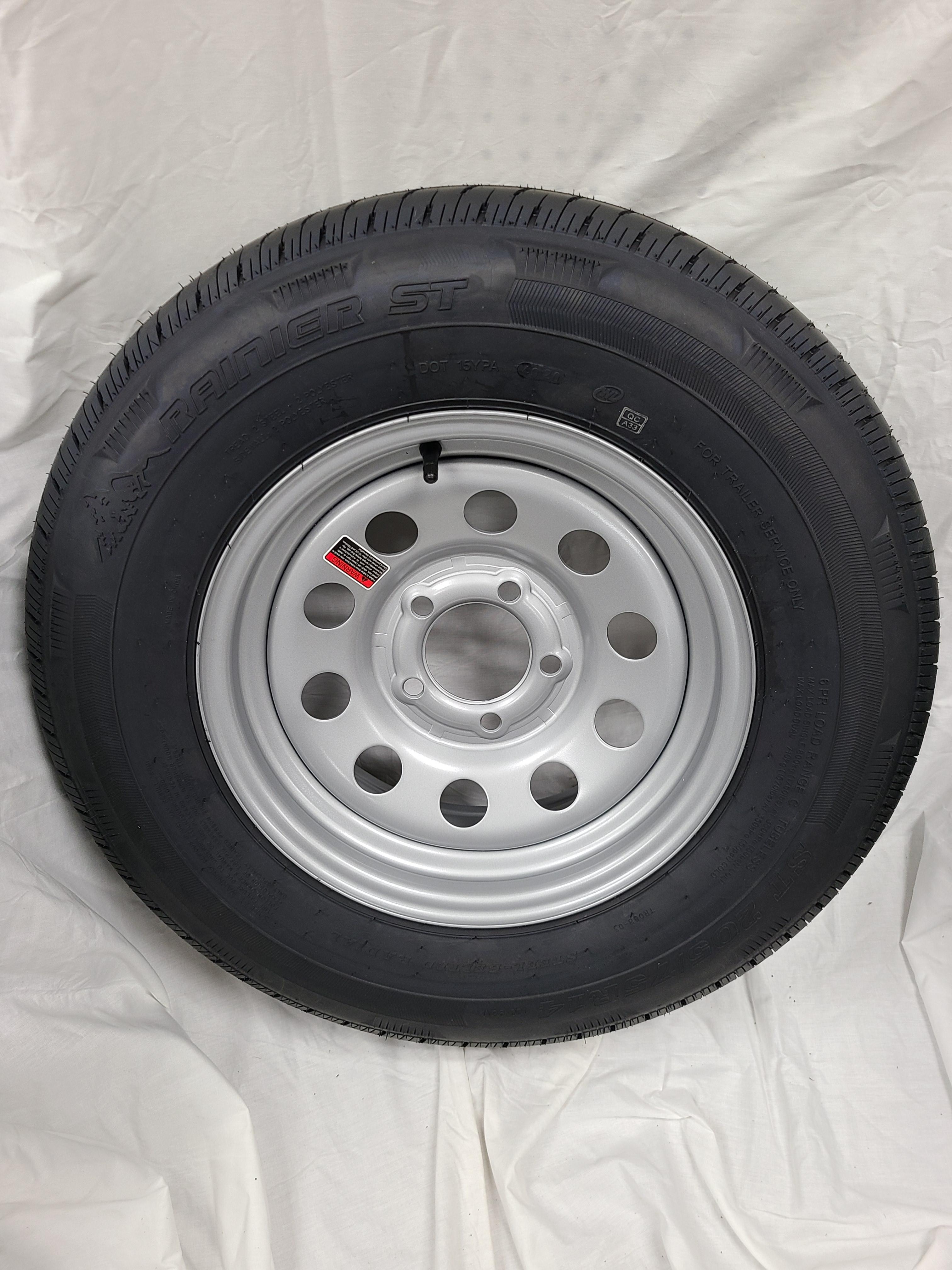 ST205/75/R14 Trailer Wheel Load Range C 5 Lug Silver mod