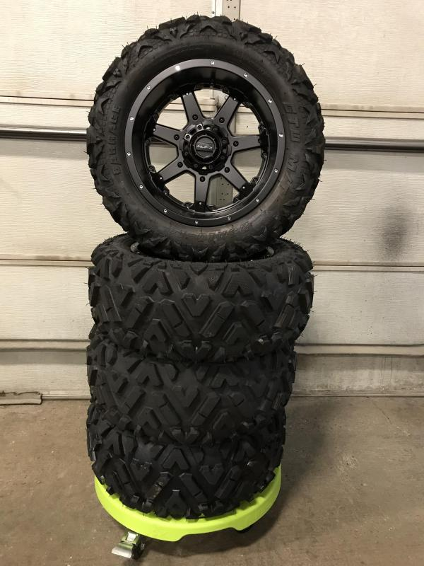 AVAILBLE TO ORDER Set of 4 Golf Cart Tires on MJFX 14x7 Blackhawk Wheels $729 (0016)
