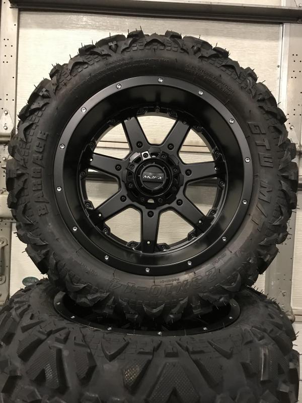 AVAILBLE TO ORDER Set of 4 Golf Cart Tires on MJFX 14x7 Blackhawk Wheels $729 (0016)