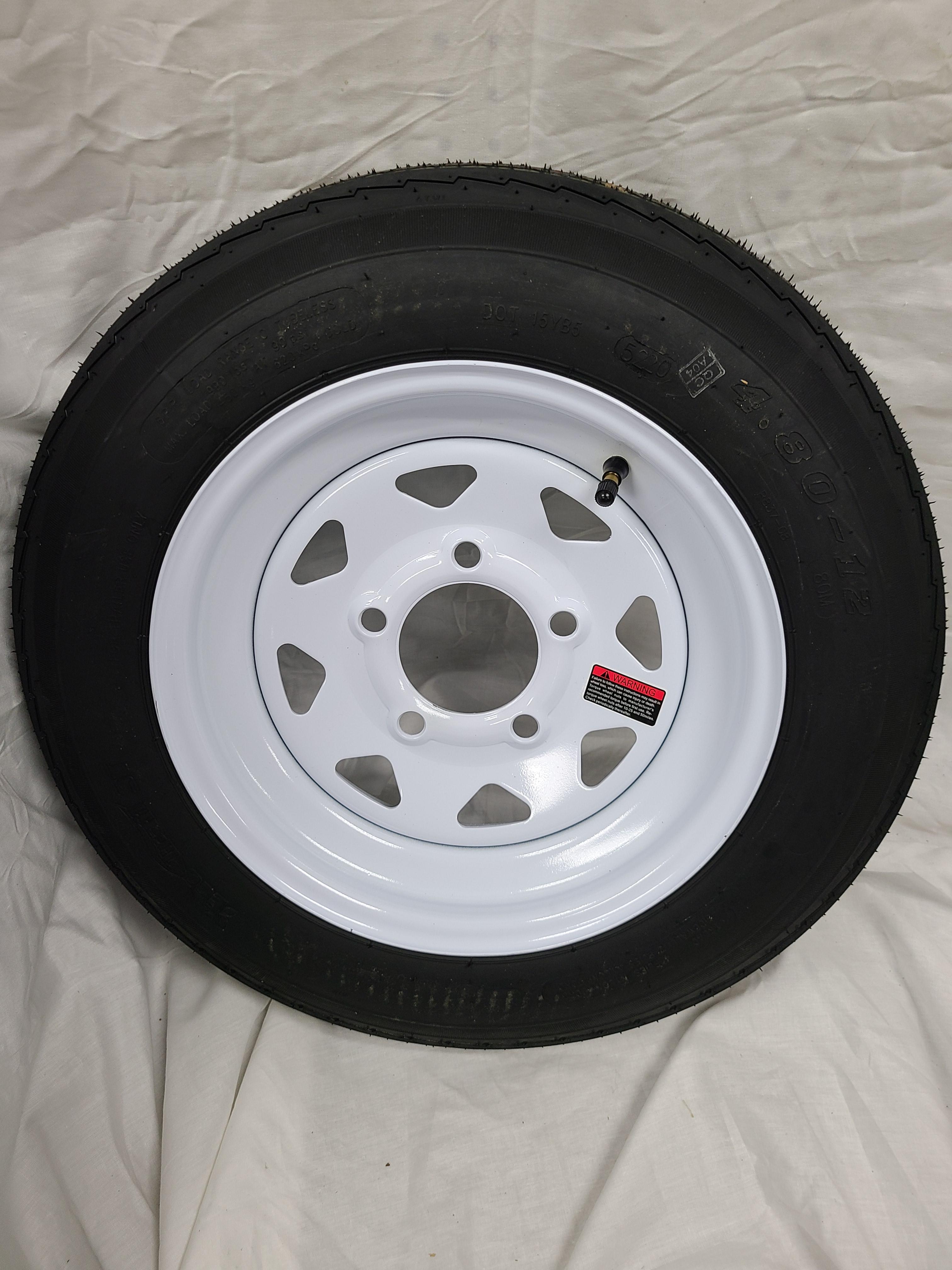 4.80X12 Trailer Tire Load Range C 5 Hole White Spoke