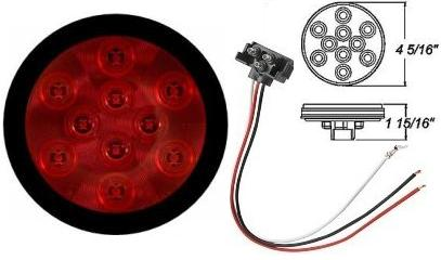 "LED Stop Turn & Tail Light RED 4"" ROUND"