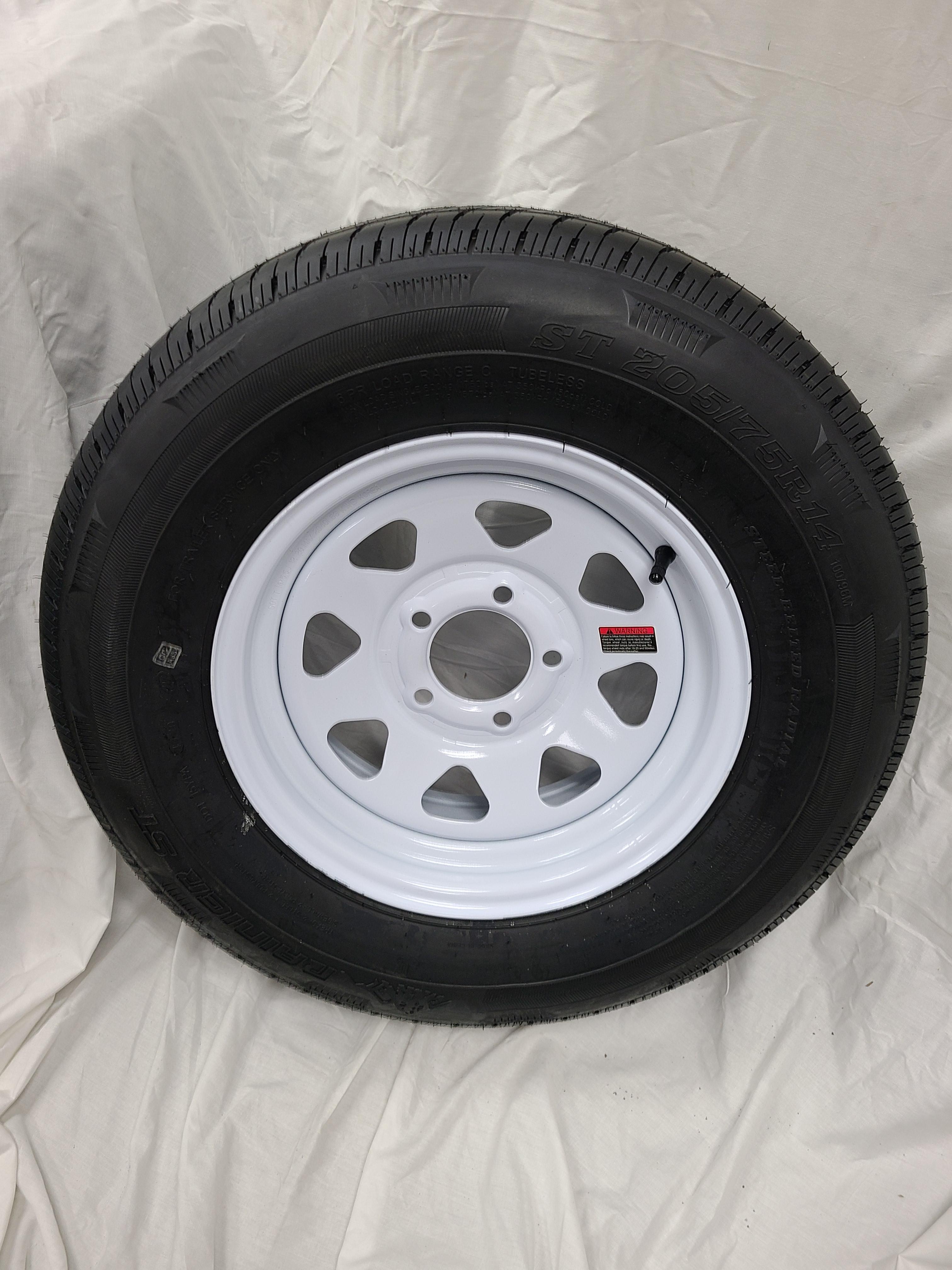 ST20575/R14 5 Lug White Spoke Wheel