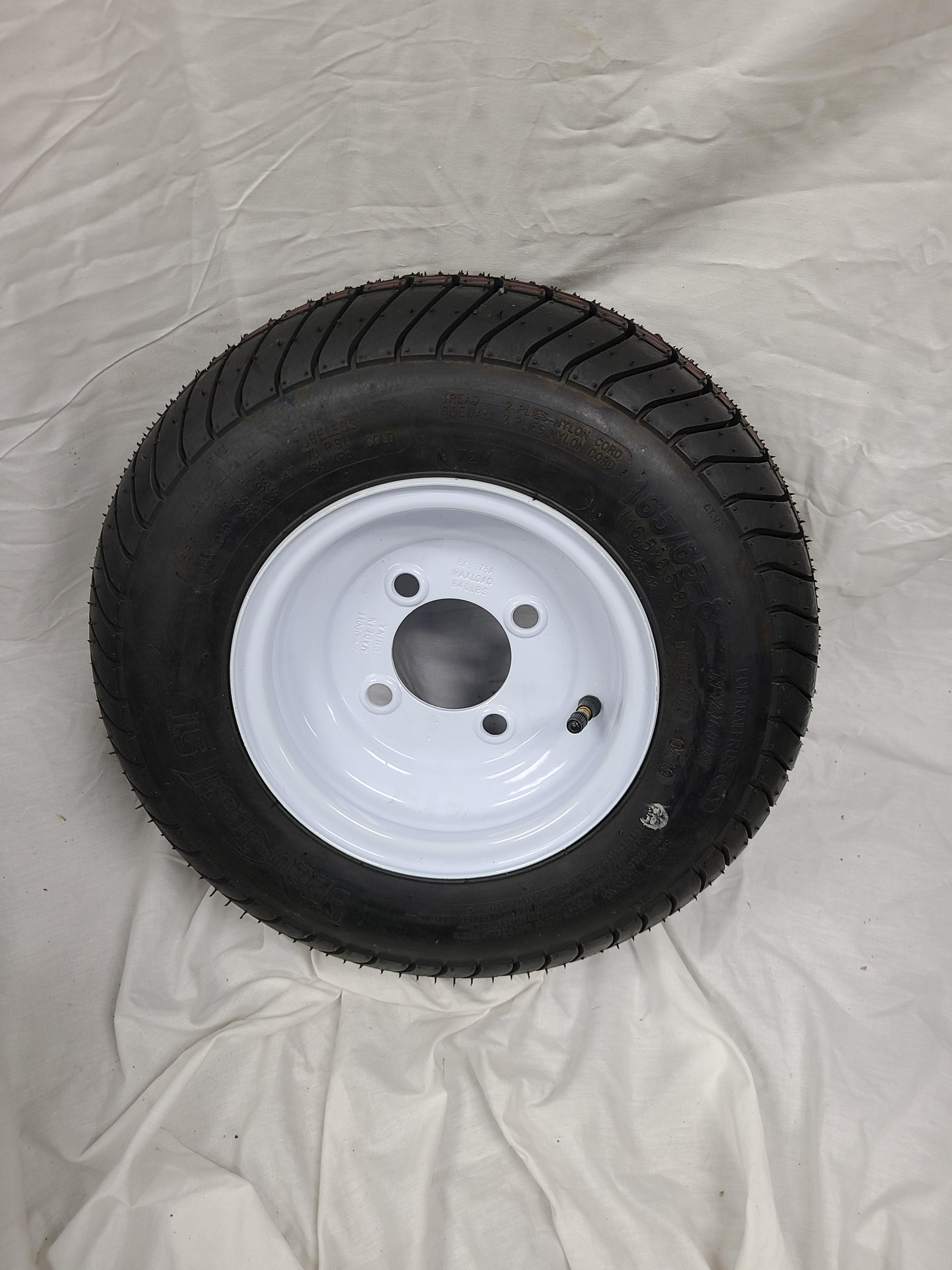 16.5X6.5X8 Trailer Tire 4 Lug White Wheel