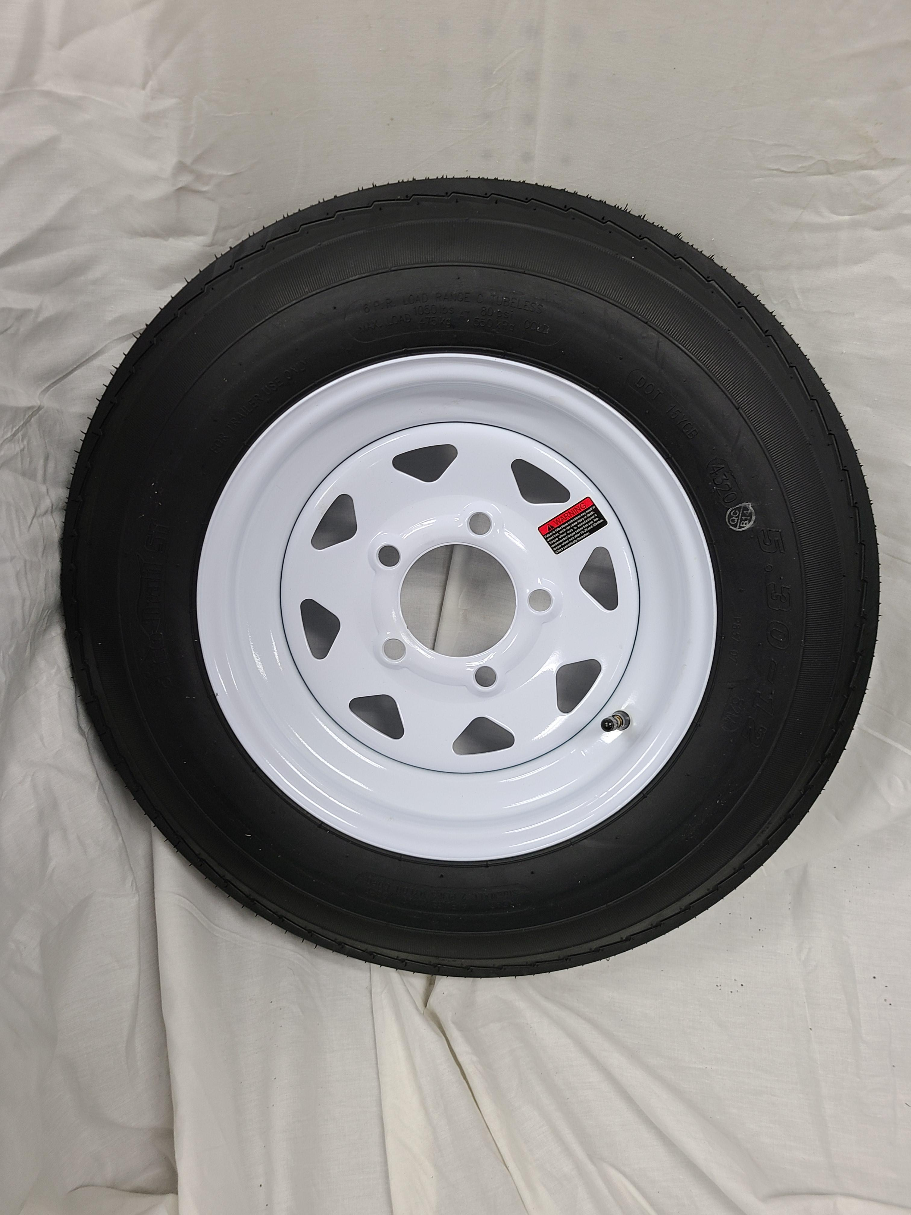 5.30X12 Trailer Tire Load Range C 5 Lug White Spoke