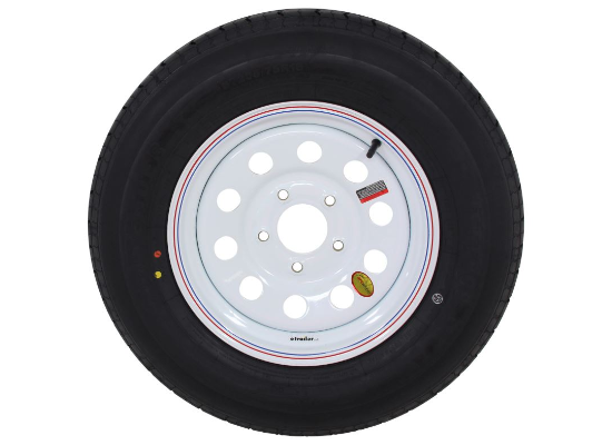 "Contender ST205/75R15 Radial Trailer Tire w/ 15"" White Mod Wheel - 5 on 4.5 - Load Range C"