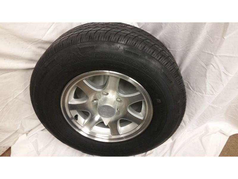 ST205/75/R14 Trailer Wheel/Radial Tire, 5 Lug Aluminum 7 Spoke Wheel