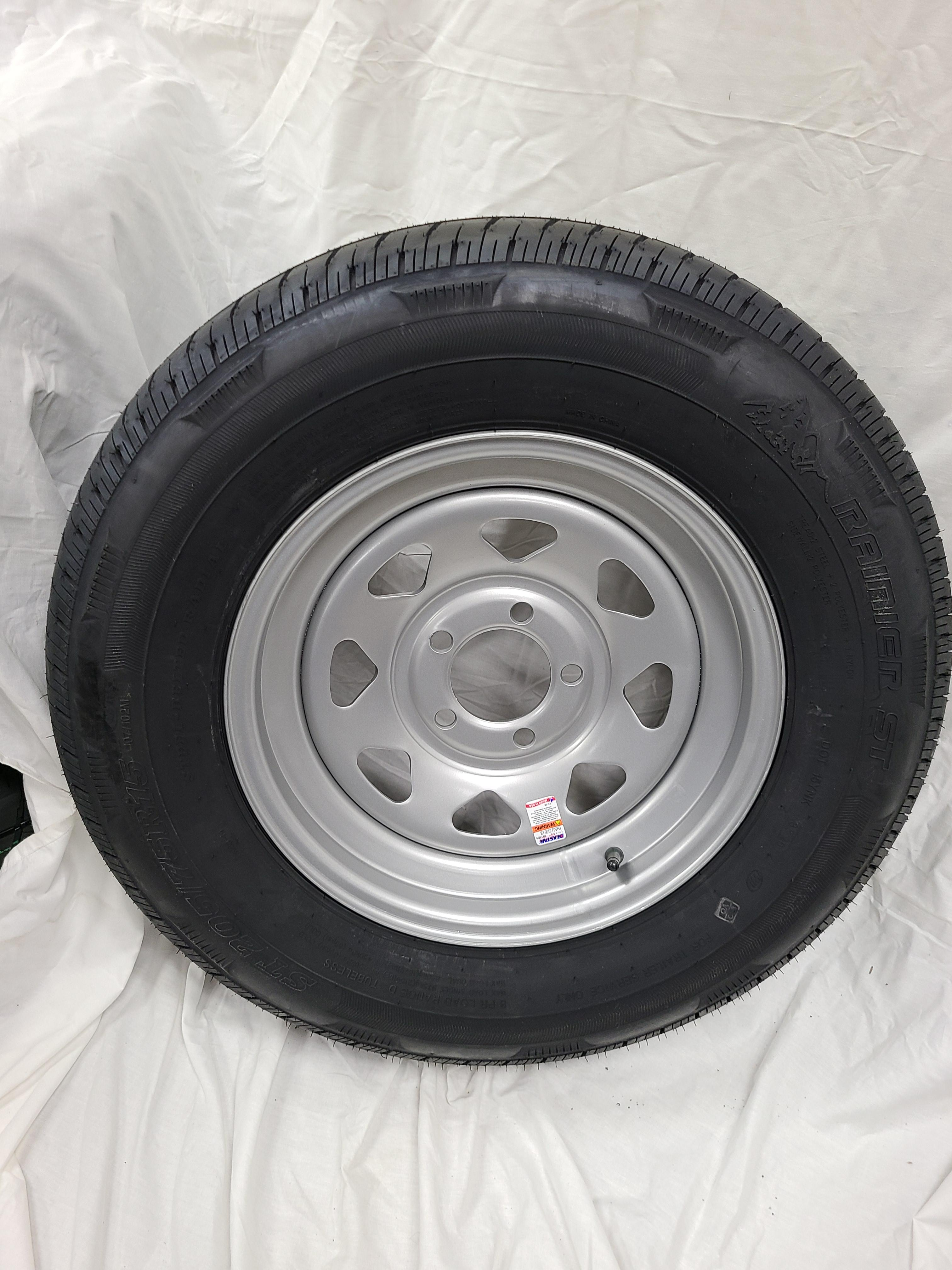 ST205/75/R15 Load Range D 5 Lug Silver Spoke
