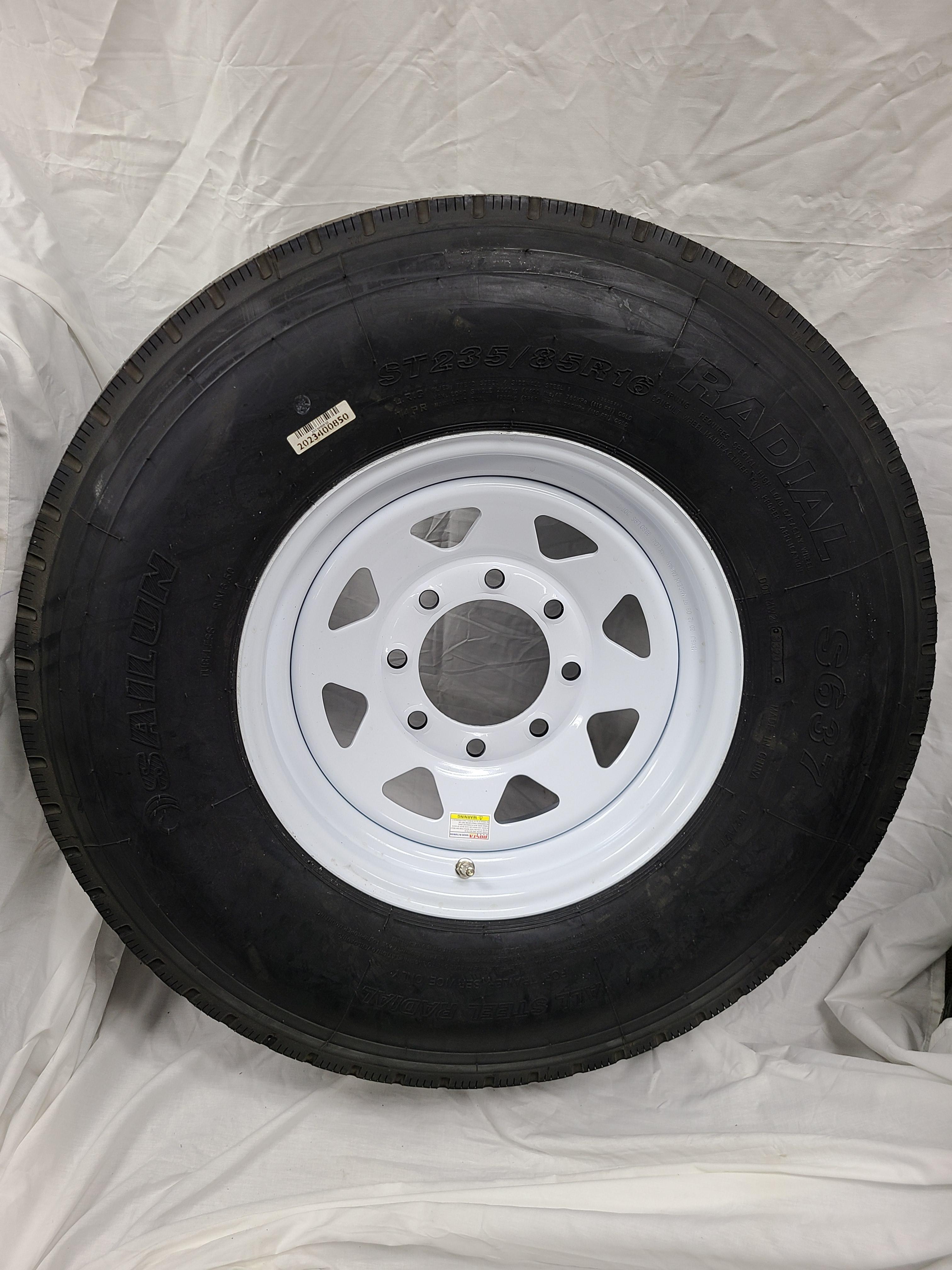ST235/85/R16 Trailer Tire Load Range G 8 Hole White Spoke