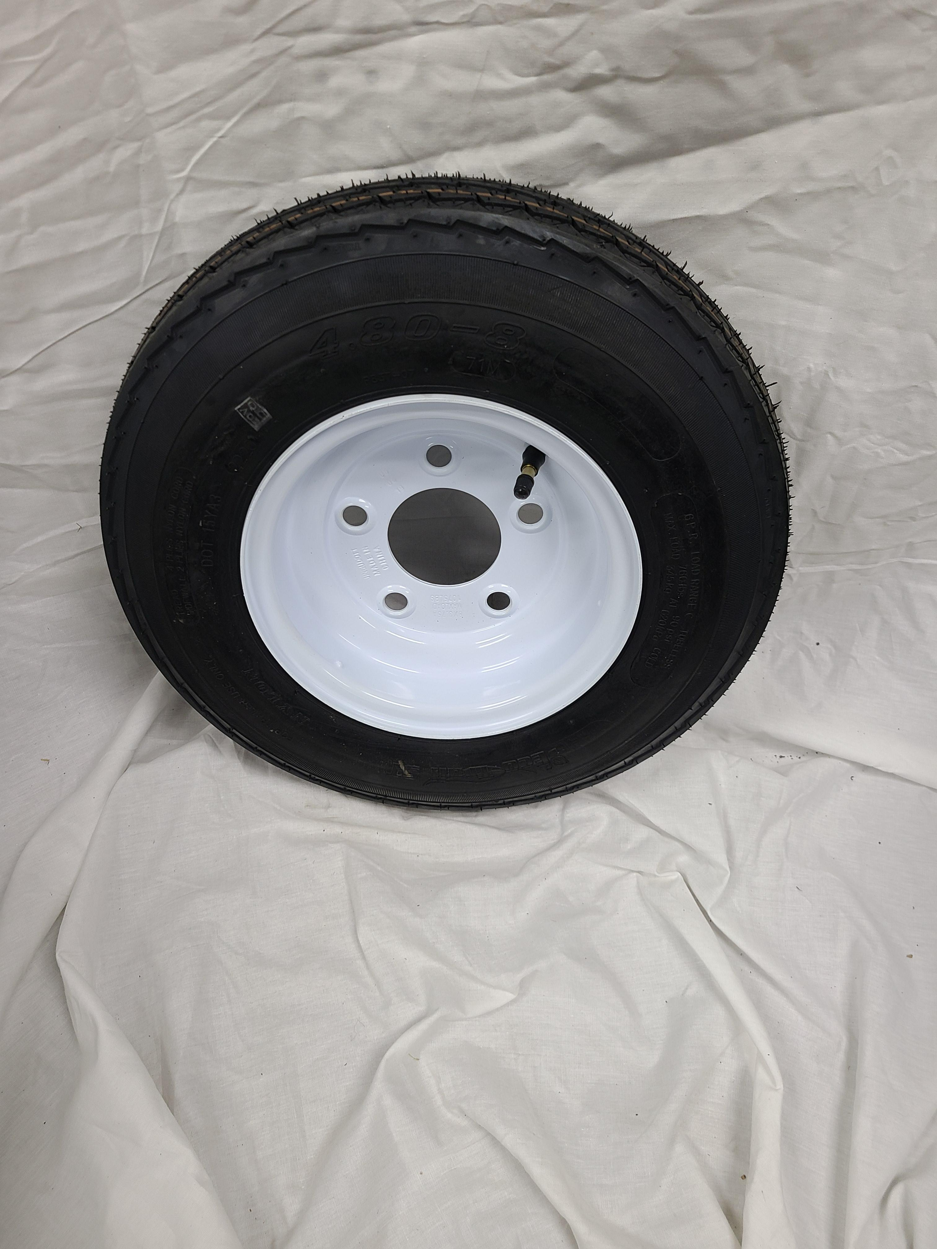 4.80X8 Trailer Tire Load Range C 5 Lug white