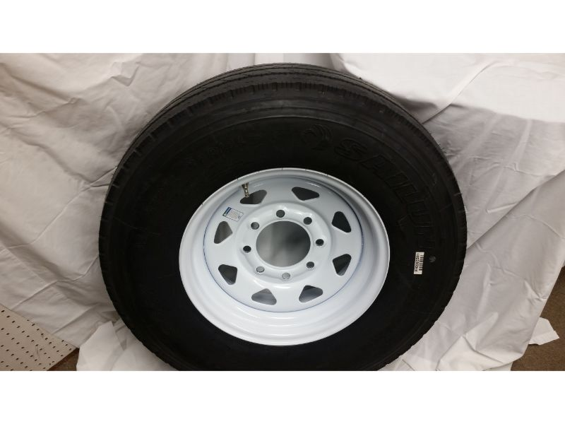 ST235/85/R16 Trailer Wheel/Radial Tire, 8 Lug White Spoke
