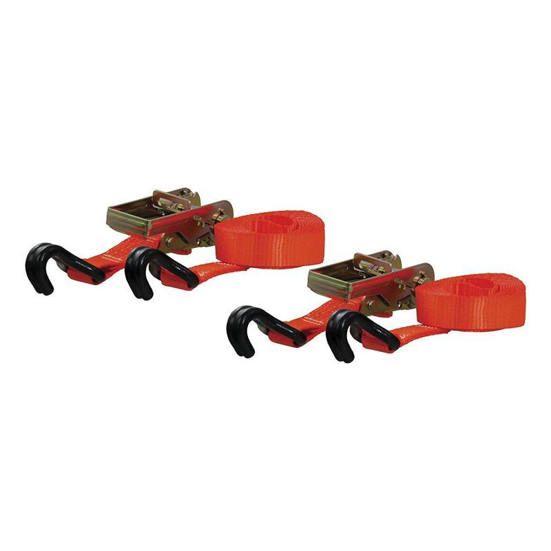 CURT Cargo Straps 1inx16ftx1100WLL 2pk Orange