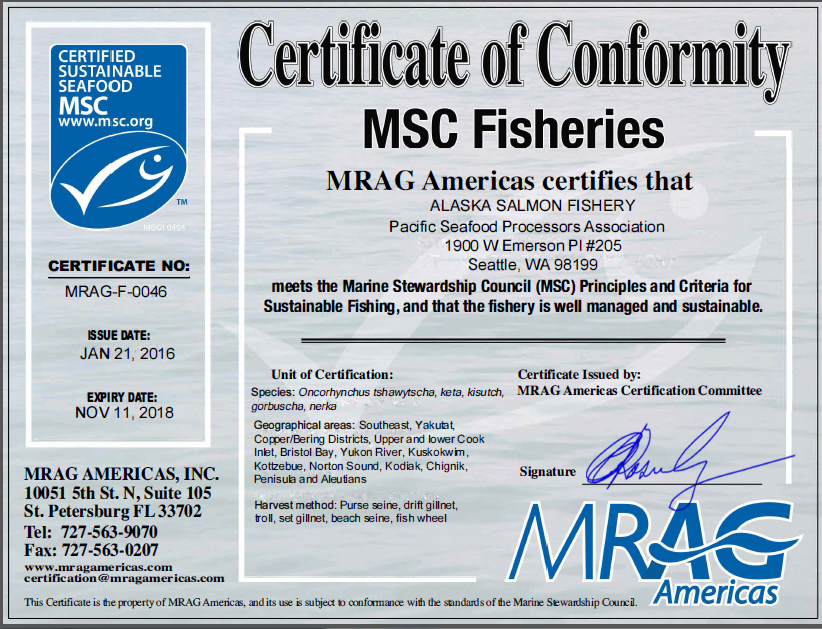 MSC Alaska salmon certificate finalized, with some exceptions