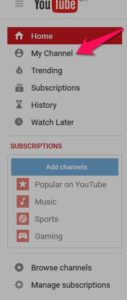 you tube screen showing channel image
