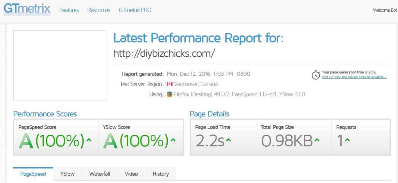 gtmetrix pagespeed score
