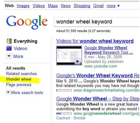Great New Keyword Search Tool: The Google Wonder Wheel