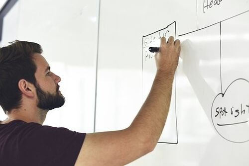 Man planning on a whiteboard small business SEO