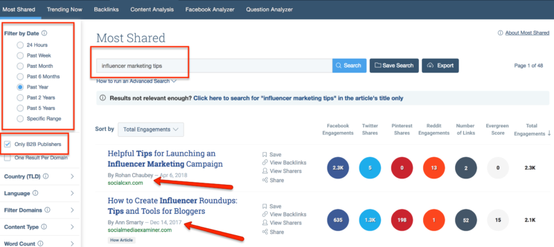 how to do influencer marketing on a budget - use buzzsumo