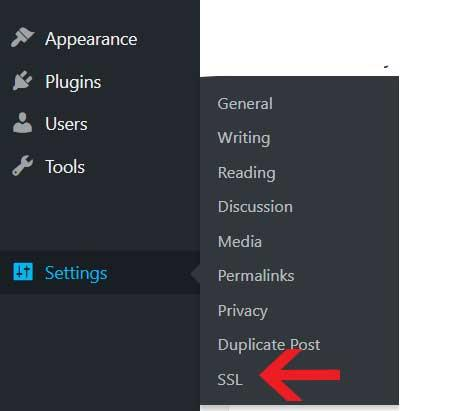 """In WordPress go to Settings > SSL"""" /></p><p>Once the settings for Really Simple SSL is open, click on the Reload over https button</p><p><img src="""
