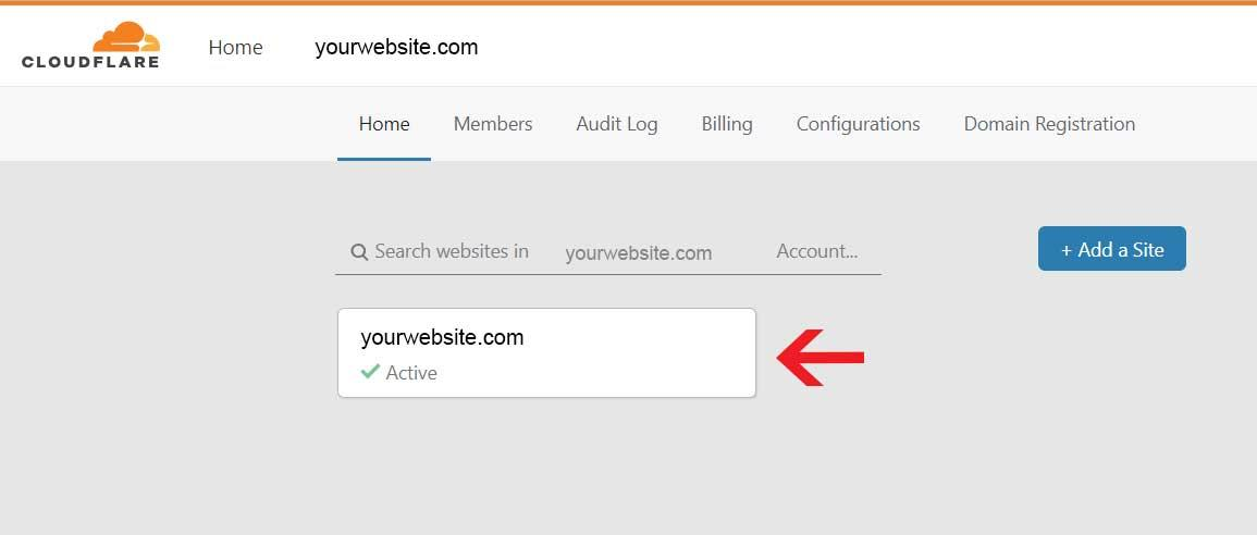 Confirmation on Cloudflare that your site is active