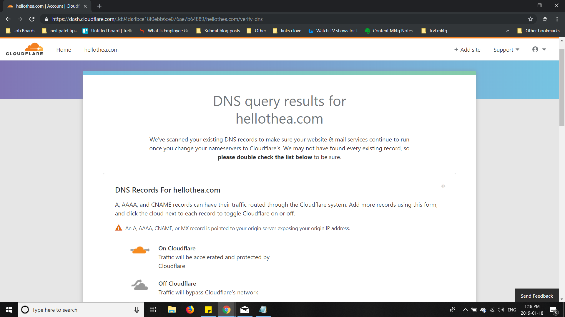 Your DNS Query Results from Cloudflare