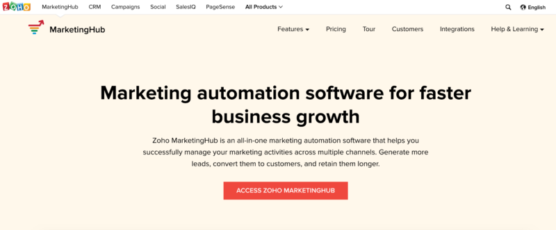 email marketing by zoho marketing hub