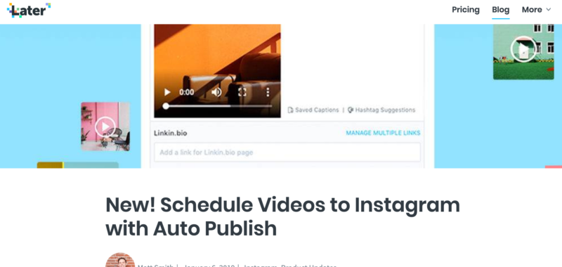 Later for instagram video marketing