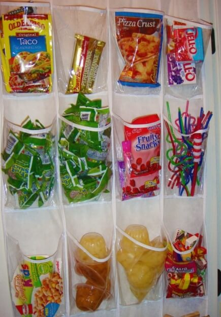 Plastic shoe organizer is an ingenious way to organize individual snacks to make them more accessible for your little ones.
