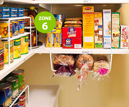 Undershelf baskets help you utilize the dead space found in all pantries.