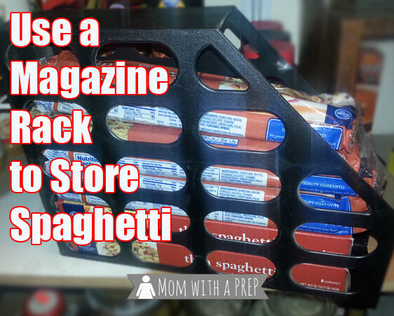 Magically gain shelf space and stop the falling spaghetti boxes with a magazine rack.