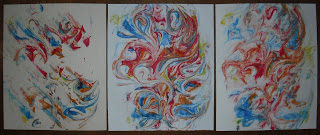 red white and blue marbled paper