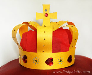 gold yellow and red gems kid's medieval paper crown