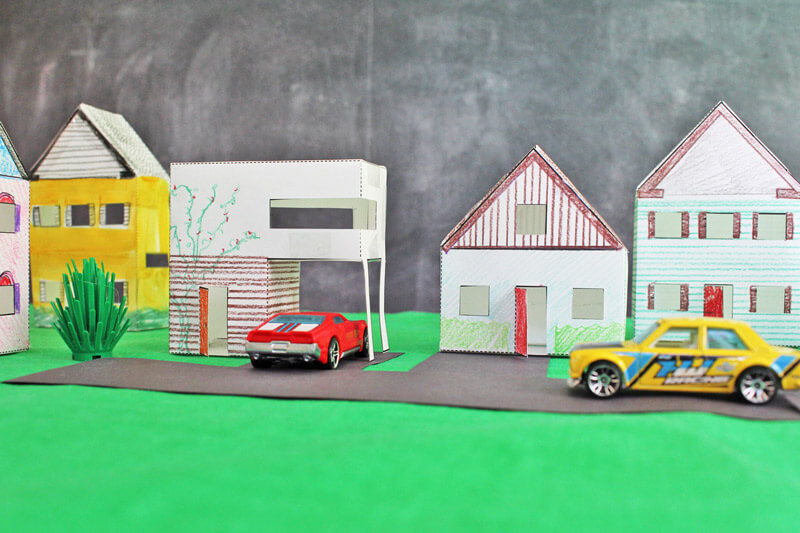 construction paper house town craft