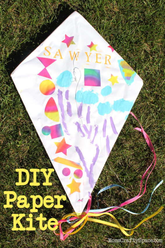 painted paper kite for kids