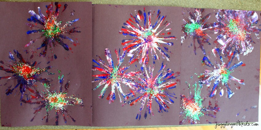 sparkling glitter firework painting with pipe cleaner stamp