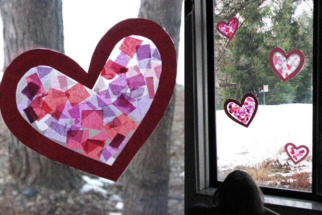 pink and purple stained glass tissue paper heart