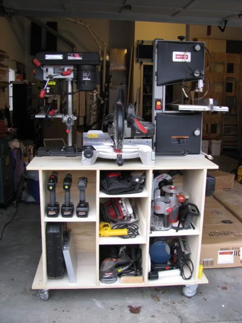 mobile power tool storage cart
