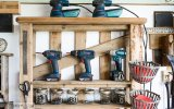 pallet repurposed for power tool storage