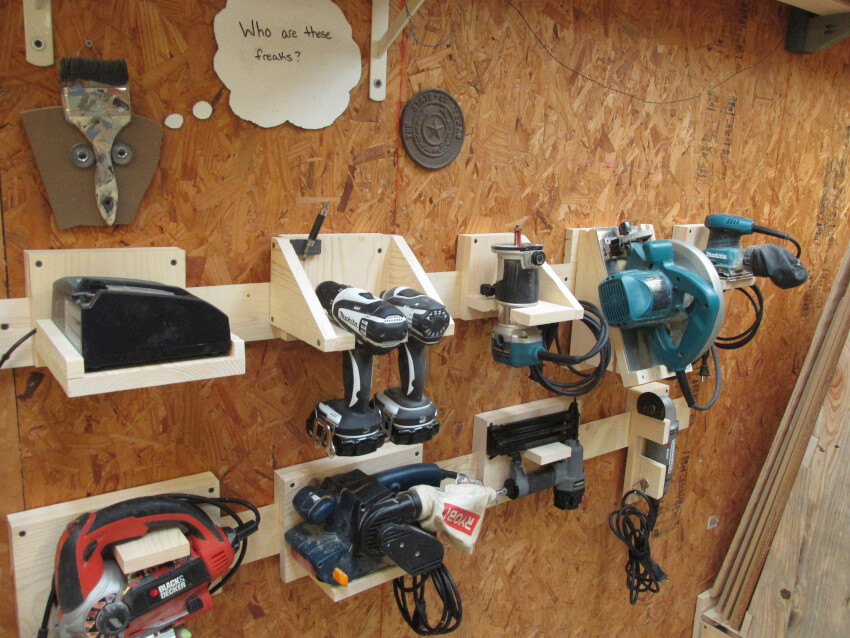 power tool storage using french cleats