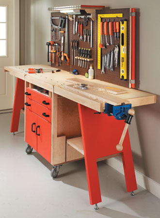 folding workbench and tool storage system