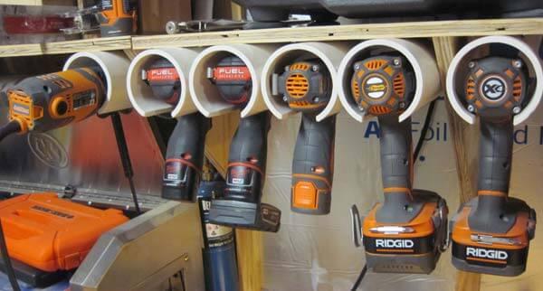 hanging power tool storage using PVC pipes