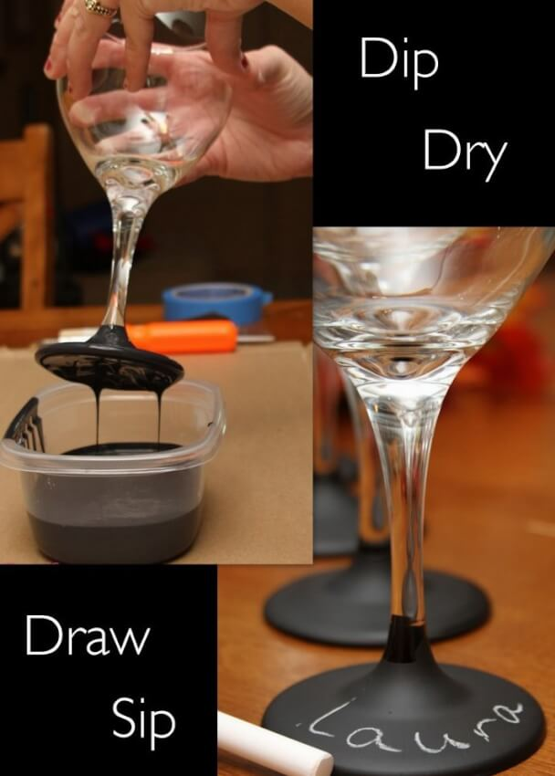 diy adult party favors chalkboard paint dipped wine glasses