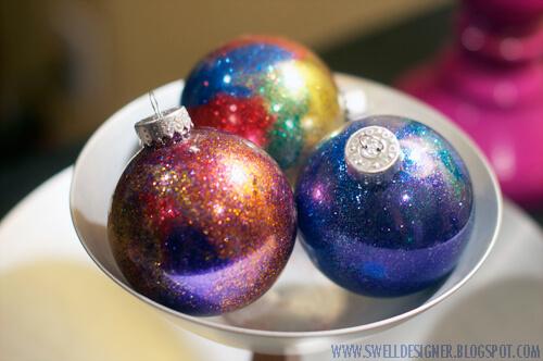 diy adult party favors galaxy-glitter-ornaments