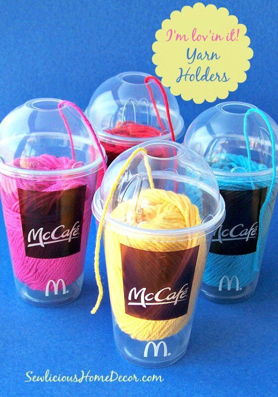 diy adult party favors yarn holder and dispenser in a cup